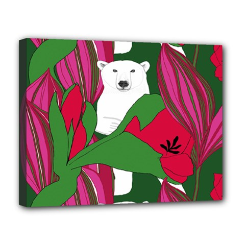 Animals White Bear Flower Floral Red Green Canvas 14  X 11  by Mariart