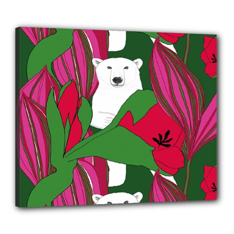 Animals White Bear Flower Floral Red Green Canvas 24  X 20  by Mariart