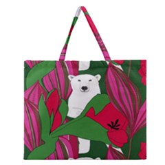 Animals White Bear Flower Floral Red Green Zipper Large Tote Bag by Mariart