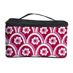 Botanical Gardens Sunflower Red White Circle Cosmetic Storage Case by Mariart