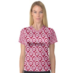 Botanical Gardens Sunflower Red White Circle Women s V Neck Sport Mesh Tee by Mariart