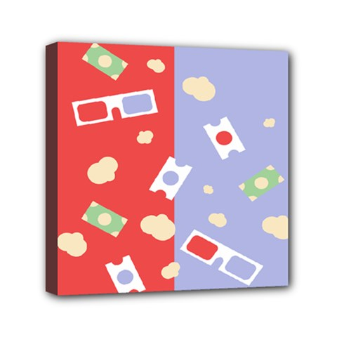 Glasses Red Blue Green Cloud Line Cart Mini Canvas 6  X 6  by Mariart
