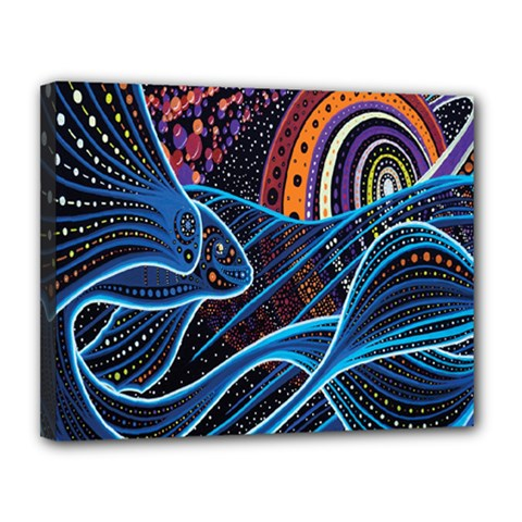 Fish Out Of Water Monster Space Rainbow Circle Polka Line Wave Chevron Star Canvas 14  X 11  by Mariart