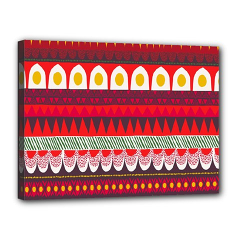 Fabric Aztec Red Line Polka Circle Wave Chevron Star Canvas 16  X 12  by Mariart