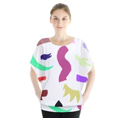 Plushie Color Rainbow Brown Purple Yellow Green Black Blouse by Mariart