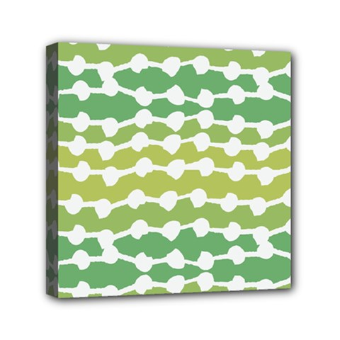 Polkadot Polka Circle Round Line Wave Chevron Waves Green White Mini Canvas 6  X 6  by Mariart