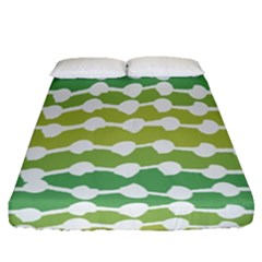 Polkadot Polka Circle Round Line Wave Chevron Waves Green White Fitted Sheet (queen Size) by Mariart