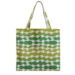 Polkadot Polka Circle Round Line Wave Chevron Waves Green White Zipper Grocery Tote Bag by Mariart