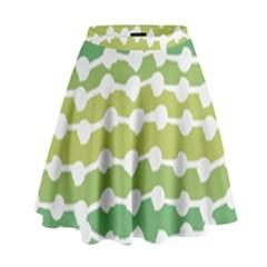 Polkadot Polka Circle Round Line Wave Chevron Waves Green White High Waist Skirt by Mariart