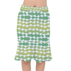 Polkadot Polka Circle Round Line Wave Chevron Waves Green White Mermaid Skirt by Mariart