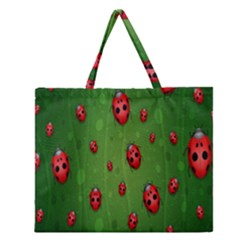 Ladybugs Red Leaf Green Polka Animals Insect Zipper Large Tote Bag by Mariart
