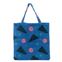 Seamless Triangle Circle Blue Waves Pink Grocery Tote Bag by Mariart