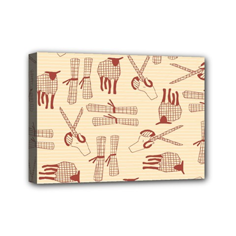 Sheep Goats Paper Scissors Mini Canvas 7  X 5  by Mariart