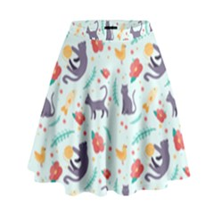 Redbubble Animals Cat Bird Flower Floral Leaf Fish High Waist Skirt by Mariart