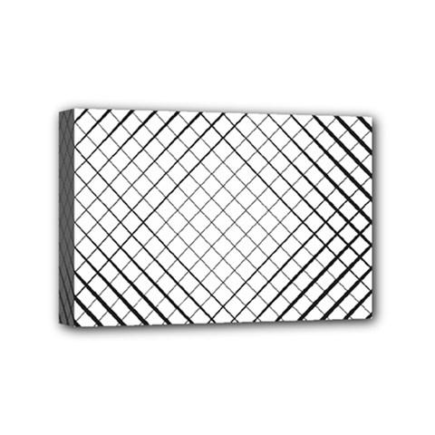 Simple Pattern Waves Plaid Black White Mini Canvas 6  X 4  by Mariart
