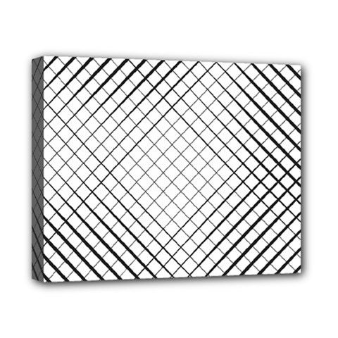 Simple Pattern Waves Plaid Black White Canvas 10  X 8  by Mariart