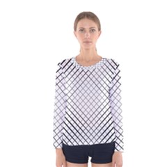 Simple Pattern Waves Plaid Black White Women s Long Sleeve Tee by Mariart