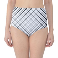 Simple Pattern Waves Plaid Black White High Waist Bikini Bottoms by Mariart