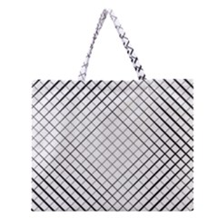 Simple Pattern Waves Plaid Black White Zipper Large Tote Bag by Mariart