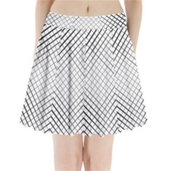 Simple Pattern Waves Plaid Black White Pleated Mini Skirt by Mariart