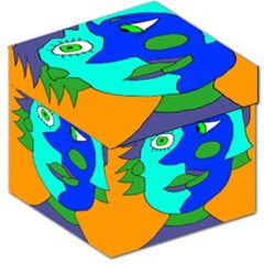 Visual Face Blue Orange Green Mask Storage Stool 12   by Mariart
