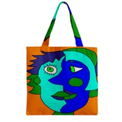 Visual Face Blue Orange Green Mask Zipper Grocery Tote Bag by Mariart