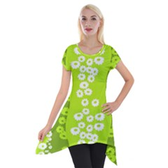 Sunflower Green Short Sleeve Side Drop Tunic by Mariart