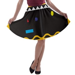 Bright Polka Wave Chevron Yellow Black A Line Skater Skirt