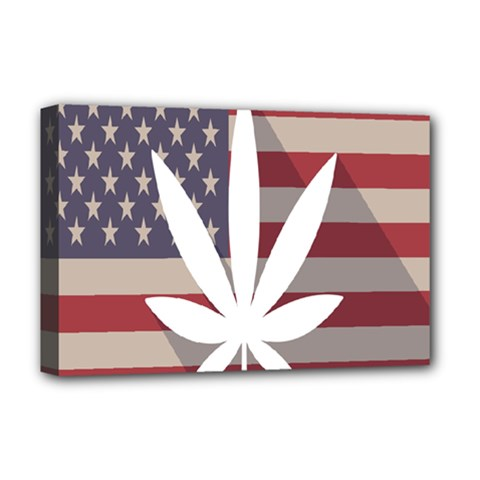 Flag American Star Blue Line White Red Marijuana Leaf Deluxe Canvas 18  X 12   by Mariart
