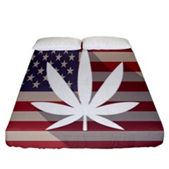 Flag American Star Blue Line White Red Marijuana Leaf Fitted Sheet (california King Size) by Mariart