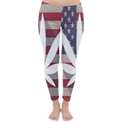 Flag American Star Blue Line White Red Marijuana Leaf Classic Winter Leggings by Mariart