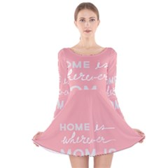 Home Love Mom Sexy Pink Long Sleeve Velvet Skater Dress by Mariart