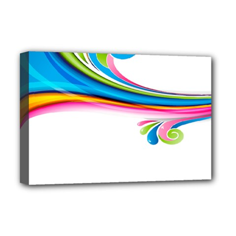 Colored Lines Rainbow Deluxe Canvas 18  X 12   by Mariart