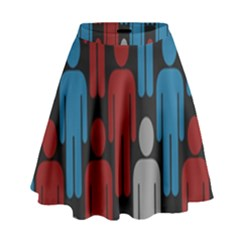 Human Man People Red Blue Grey Black High Waist Skirt by Mariart