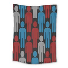 Human Man People Red Blue Grey Black Medium Tapestry by Mariart