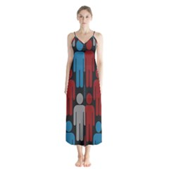 Human Man People Red Blue Grey Black Chiffon Maxi Dress