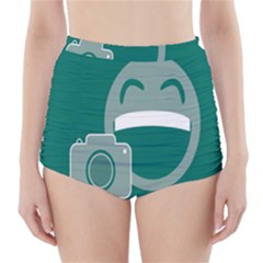 Laughs Funny Photo Contest Smile Face Mask High Waisted Bikini Bottoms by Mariart