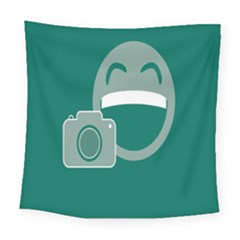 Laughs Funny Photo Contest Smile Face Mask Square Tapestry (large) by Mariart