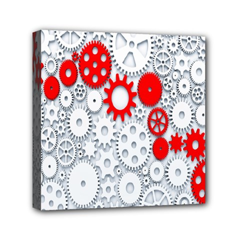 Iron Chain White Red Mini Canvas 6  X 6  by Mariart