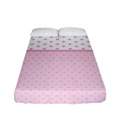 Love Polka Dot White Pink Line Fitted Sheet (full/ Double Size) by Mariart