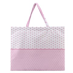 Love Polka Dot White Pink Line Zipper Large Tote Bag by Mariart