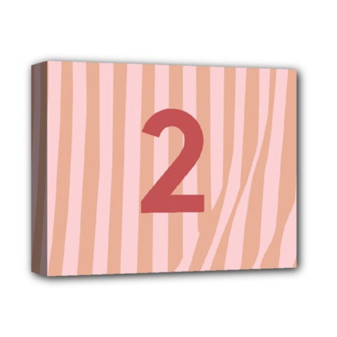 Number 2 Line Vertical Red Pink Wave Chevron Deluxe Canvas 14  X 11  by Mariart