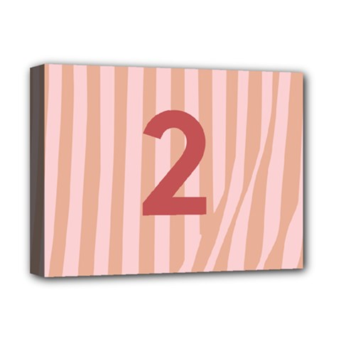 Number 2 Line Vertical Red Pink Wave Chevron Deluxe Canvas 16  X 12   by Mariart