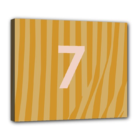 Number 7 Line Vertical Yellow Pink Orange Wave Chevron Deluxe Canvas 24  X 20