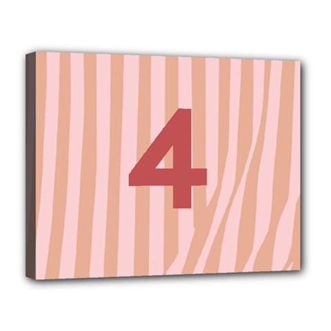Number 4 Line Vertical Red Pink Wave Chevron Canvas 14  X 11  by Mariart