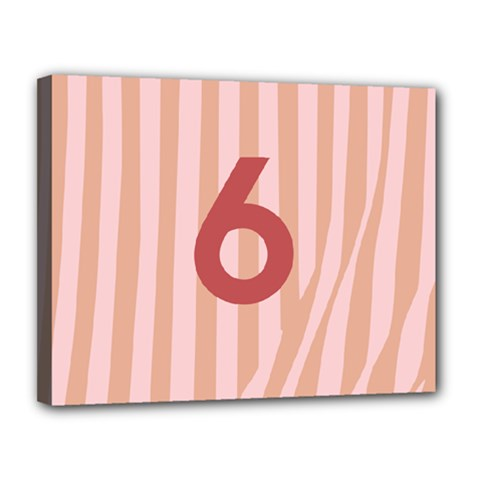 Number 6 Line Vertical Red Pink Wave Chevron Canvas 14  X 11  by Mariart