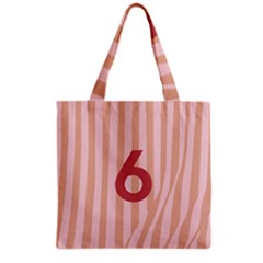 Number 6 Line Vertical Red Pink Wave Chevron Grocery Tote Bag by Mariart