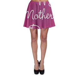 Valentine Happy Mothers Day Pink Heart Love Skater Skirt by Mariart