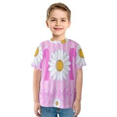 Valentine Happy Mothers Day Pink Heart Love Sunflower Flower Kids  Sport Mesh Tee
