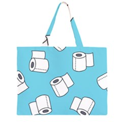 Roller Tissue White Blue Restroom Zipper Large Tote Bag by Mariart